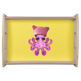 Cute Pink Octopus Wearing Pussy Hat Serving Tray