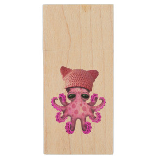 Cute Pink Octopus Wearing Pussy Hat Wood USB Flash Drive