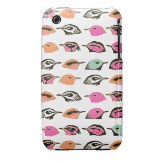 Cute Pink Orange Green Bird Pattern iPhone 3 Case