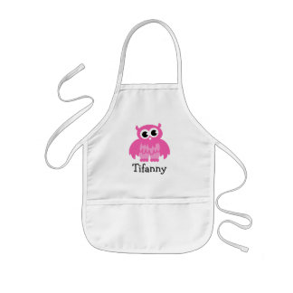 Cute pink owl apron for kids | Personalizable name