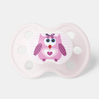 Cute Pink Owl Baby Girl Pacifier