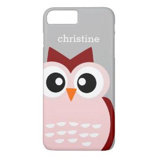 Cute Pink Owl Bird on Tough iPhone 7 Plus Case