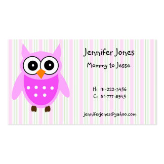 Cute Pink Owl Calling Card Pack Of Standard Business Cards