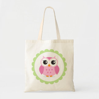 Cute pink owl cartoon inside green border