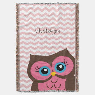 Cute Pink Owl Chevron Zigzag Custom Throw Blanket