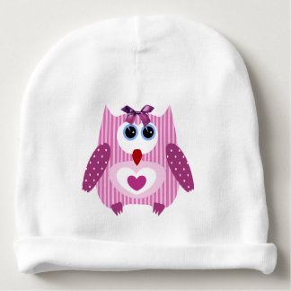 Cute Pink Owl, front & back Baby Girl Newborn Hat Baby Beanie