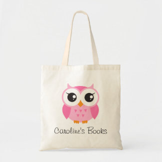 Cute pink owl girls personalized library book budget tote bag