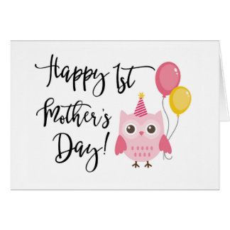 Cute Pink Owl Happy 1st Mother's Day Card