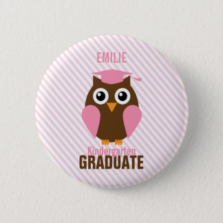 Cute Pink Owl Kindergarten Graduate 6 Cm Round Badge