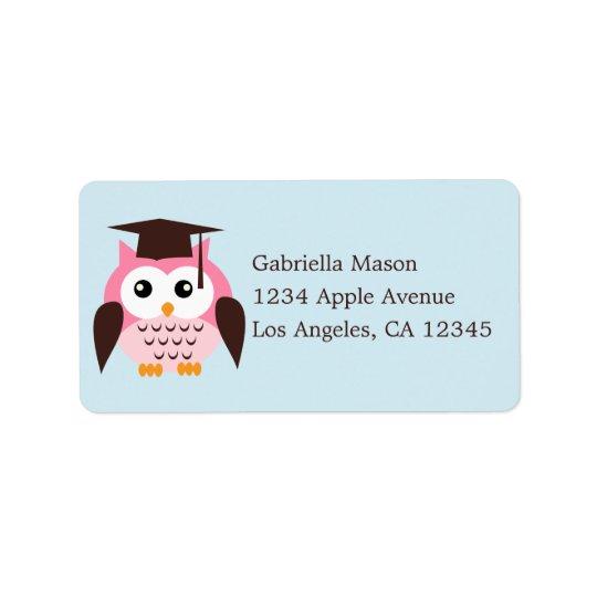 Cute Pink Owl Label