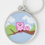 Cute Pink Owl Mum and Baby Key Chains