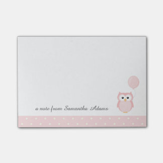 Cute Pink Owl Notes