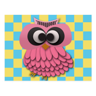 Cute Pink Owl on Blue and Yellow Checkered Postcard