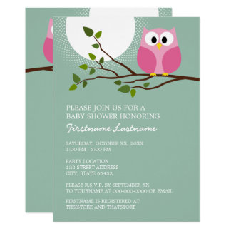 Cute Pink Owl on Branch Baby Girl Shower Card
