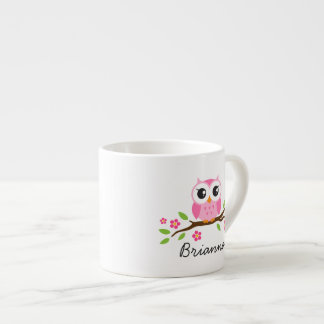 Cute pink owl on branch customizable name espresso cup