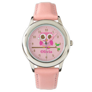 Cute Pink Owl On Branch Girls Personalised Watch