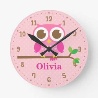 Cute Pink Owl on Branch Girls Wall Decor Clock