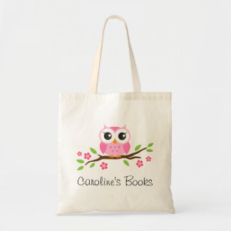 Cute pink owl on branch personalized library book budget tote bag