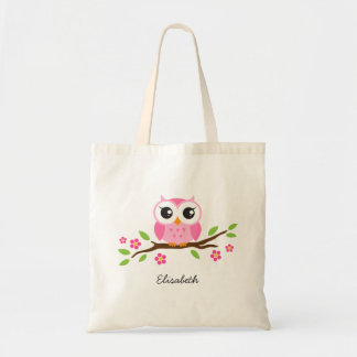 Cute pink owl on floral branch personalized name budget tote bag