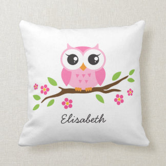 Cute pink owl on floral branch personalized name cushion