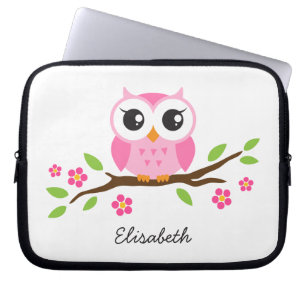 755a81a13bb7 Cute pink owl on floral branch personalized name laptop sleeve