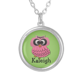 Cute Pink Owl on Green Personalized Necklace
