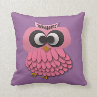 Cute Pink Owl on Purple Pillow