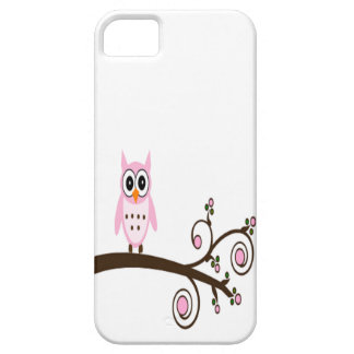 Cute Pink Owl On Tree Branch iPhone 5 Cover
