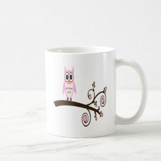 Cute Pink Owl On Tree Branch Mug