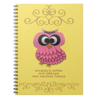Cute Pink Owl on Yellow Gold Personalized Notebook