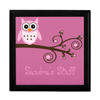 Cute Pink Owl Personalized Girl's Room Gift Box