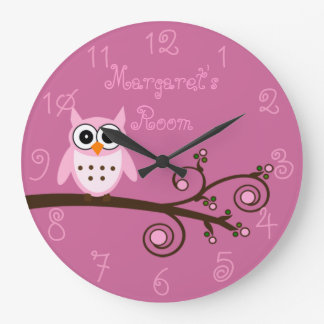 Cute Pink Owl Personalized Girl's Room Large Clock