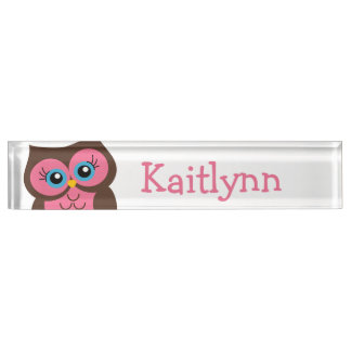 Cute Pink Owl Personalized Nameplate
