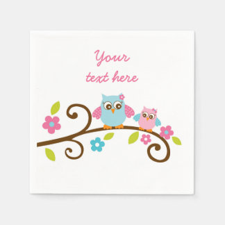 Cute Pink Owl Personalized Napkins Paper Napkins