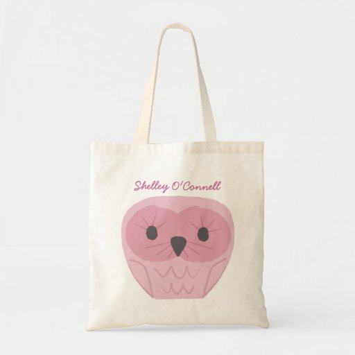 Cute Pink Owl School Book Library Canvas Bag