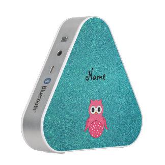 Cute pink owl turquoise glitter speaker
