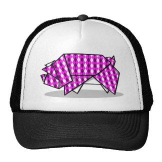 Cute Pink Patterned Paper Pig Cap