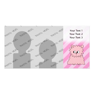 Cute Pink Persian Cat. Pink Striped Background. Custom Photo Card