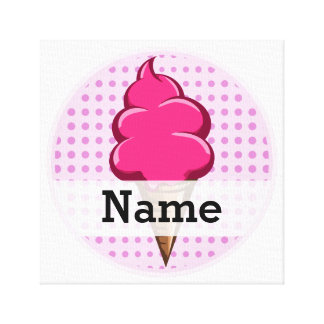 Cute pink personalized ice cream for girls canvas print