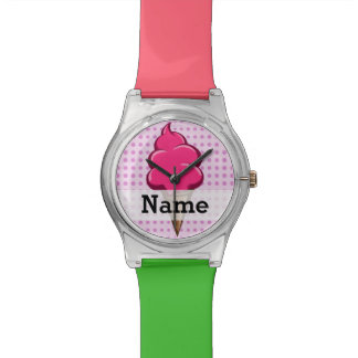 Cute pink personalized ice cream for girls watch