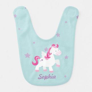 Cute Pink Personalized Magical Unicorn Baby Bib