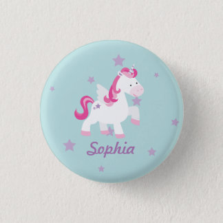 Cute Pink Personalized Magical Unicorn Button/Pin 3 Cm Round Badge