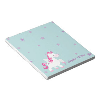 Cute Pink Personalized Magical Unicorn Notepads