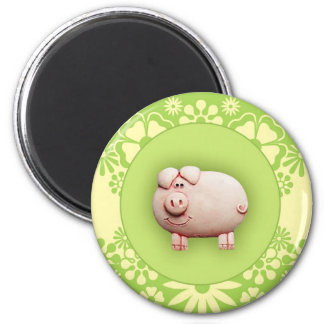 Cute Pink Pig 6 Cm Round Magnet