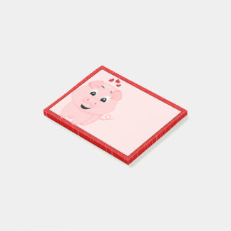 Cute Pink Pig and Hearts Post-it Notes