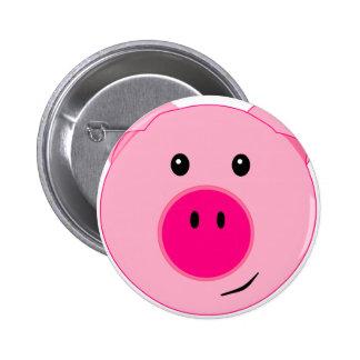 Cute Pink Pig Pinback Buttons
