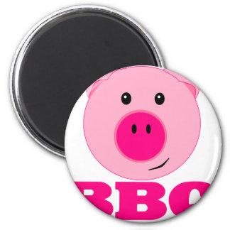 Cute Pink Pig BBQ 6 Cm Round Magnet