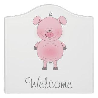 Cute Pink Pig Cartoon Door Sign