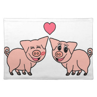 Cute Pink Pig Couple Placemat