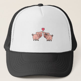 Cute Pink Pig Couple Trucker Hat